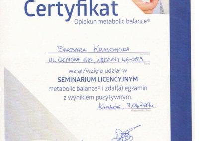 certyfikat metabolic balance