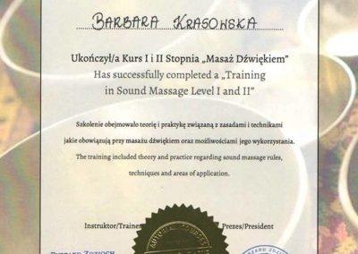 dyplom masaż dźwiękiem