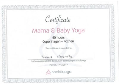 certyfikat mama and baby joga