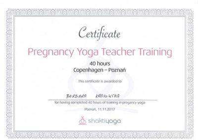 certyfikat joga w ciąży