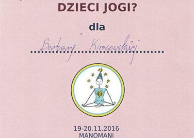 Dyplom ukończenia szkolenia - Jak kreatywnie uczyć dzieci jogi?
